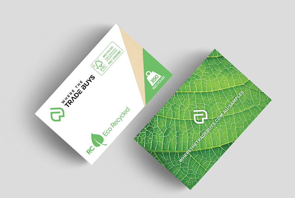 Eco recycled business cards where the trade buys economy cards reheart Images